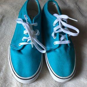 Turquoise blue lace up Vans, Unisex,. W9, M7.5